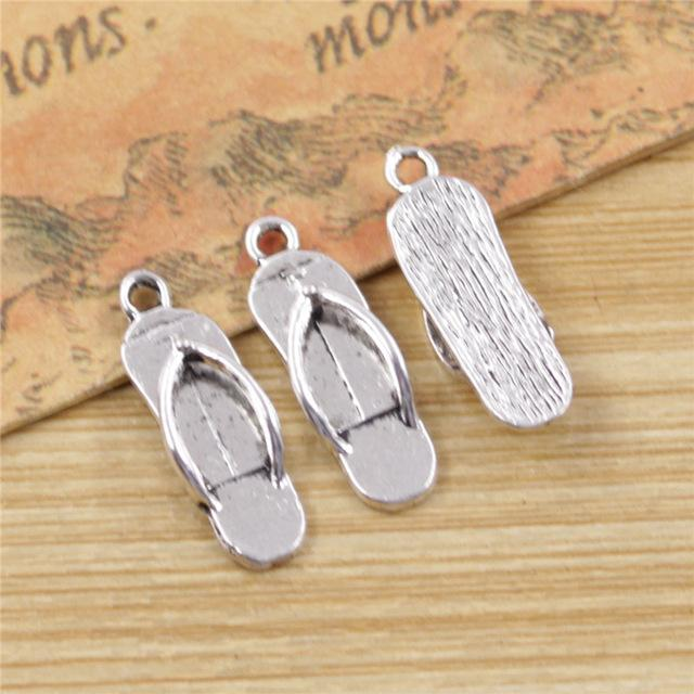 Wholesale- 30 pcs Flip Flops Charms Fashion Pendants Bracelet Necklace Accessories Jewelry Making Handmade,Tibetan Silver Plated 21*7mm
