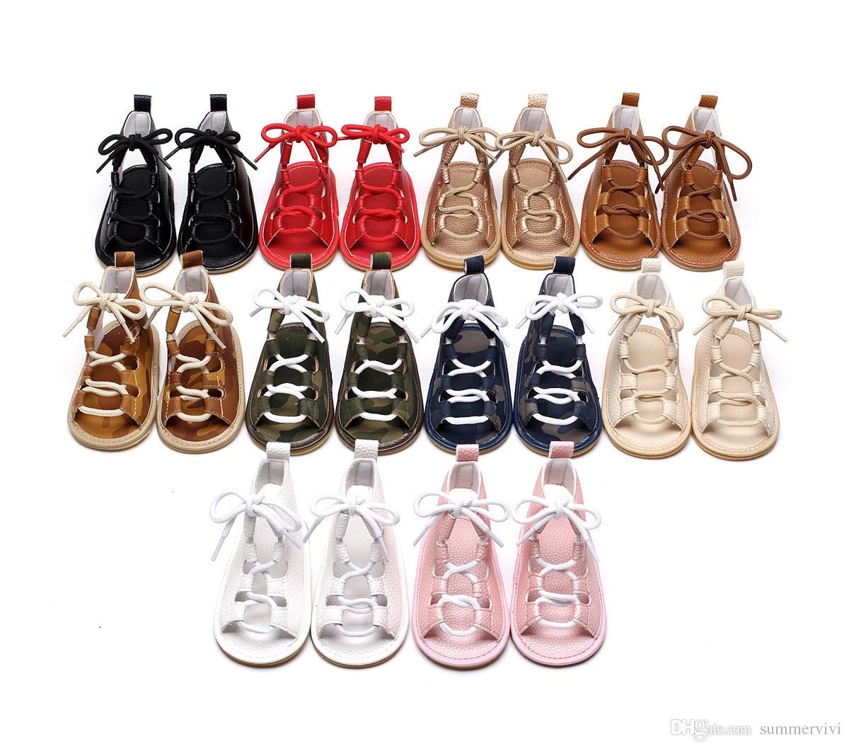 Baby Girls sandals toddler kids flat heels lace-up sandals girls rome sandals baby high gladiator sandal child PU leather shoes A0545
