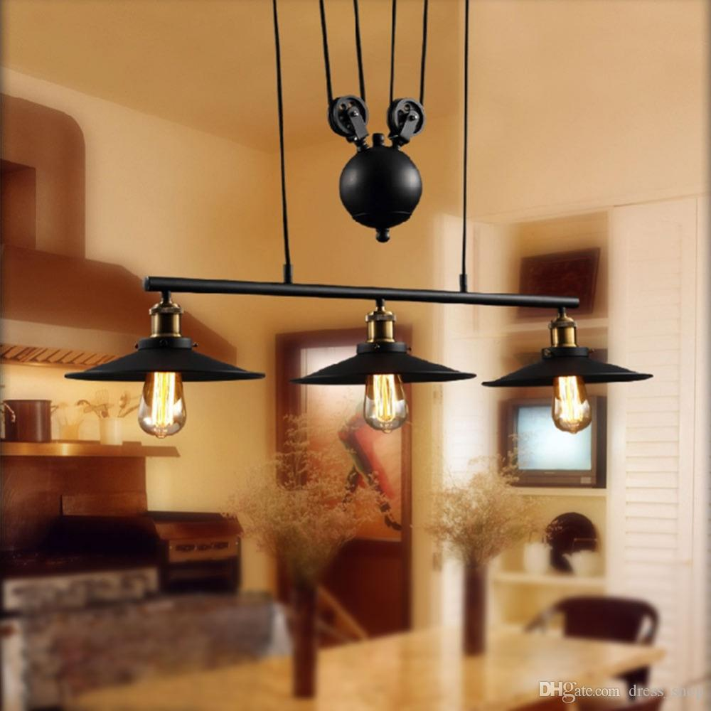 Loft vintage pendant lights iron pulley lamp bar kitchen home decoration e27 edison light fixtures free shipping 3 heads