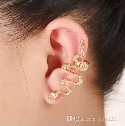 Punk Womens Snake Ear Cuff Piercing Silver Gold Plated Stud Wraps Earrings Ear Studs Gothic Jewelry
