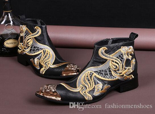 Mode-Stil 2017 Winter hochhackigen Männer Leder kurze Stiefel Mode bestickt Männer Friseur erhöhte Gezeiten Stiefel