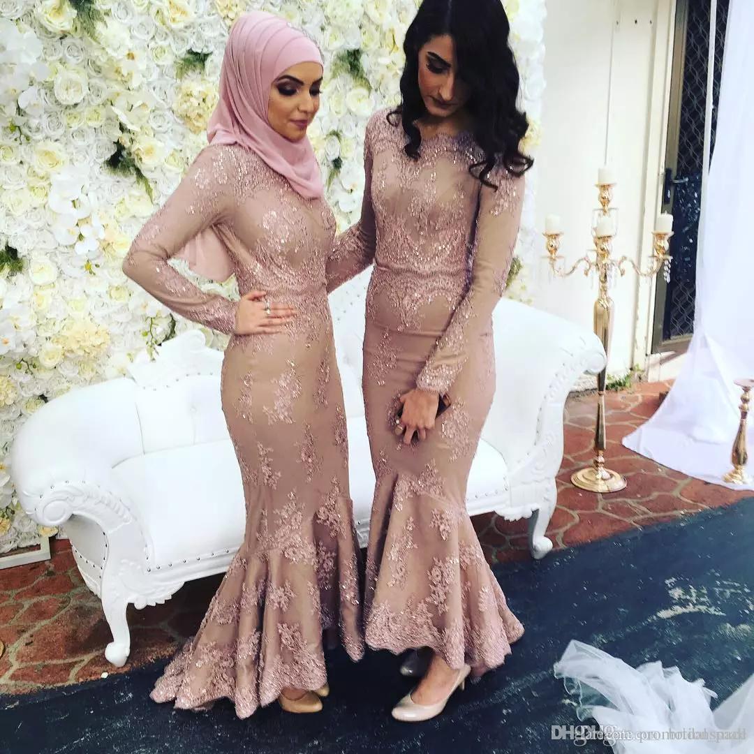 2018 Pink Lace nude mangas largas vestidos de dama de honor musulmanes mujeres árabes vestidos formales más tamaño sirena vestido de fiesta de boda