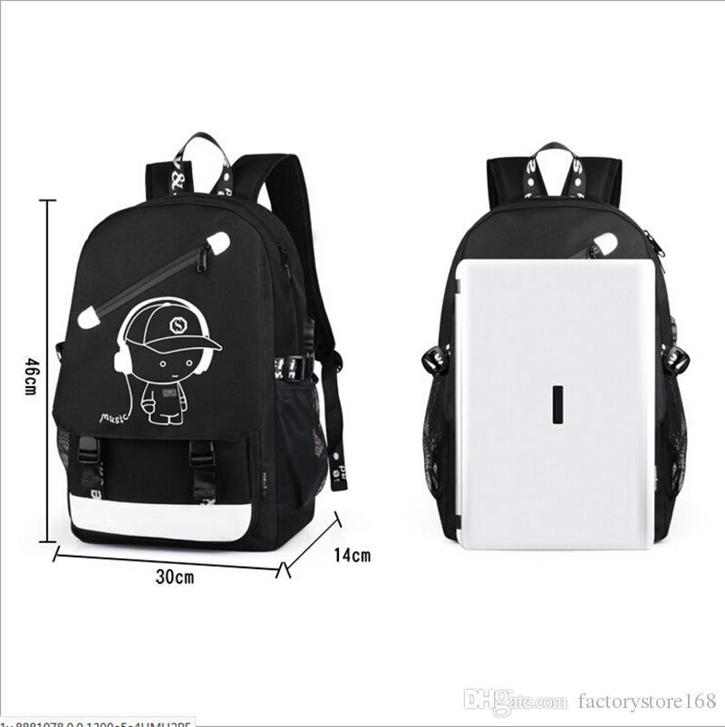 Мода USB Charge Luminous Конструктор Рюкзак Мужчины Студенты Сумки для путешествий Компьютер рюкзак большой емкости сумка с противоугонной блокировки