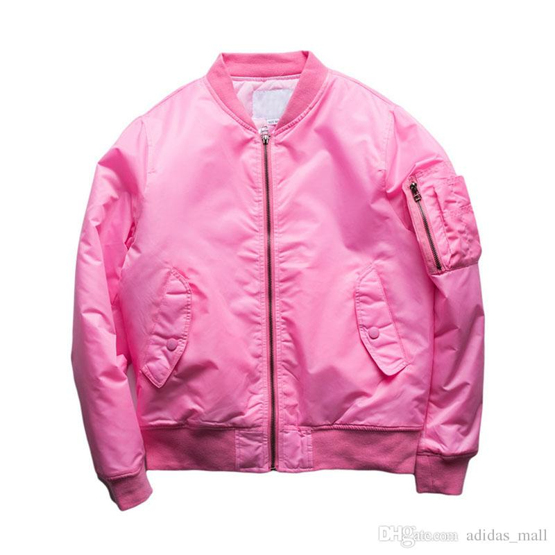 Pink Bomber Jacket Men Women 2017spring Street Thin Style Solid ...