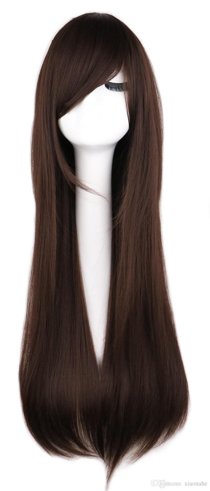 Women Men Long Straight Anime Cosutme Party Dark Brown Wig Cosplay 80 Cm High Qulaity Synthetic Hair Wigs
