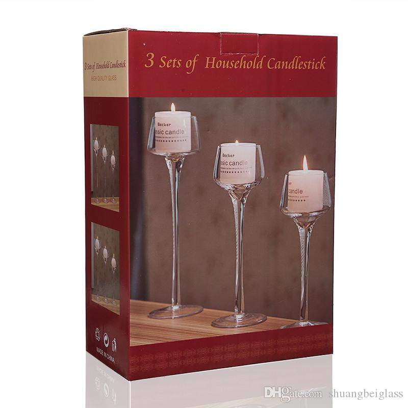 Crystal Candle Holder Set Glass Decorative Wedding Candles Candleholder Wedding Home Bar Party Decoration Ornaments Candlestick