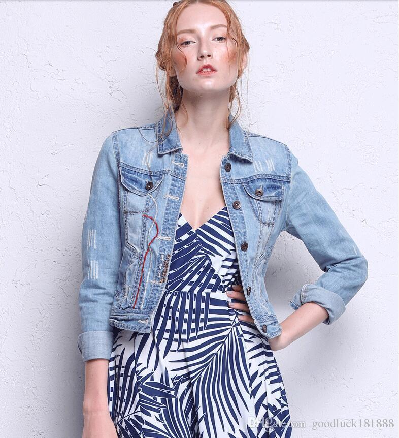 185c7279c Spring Autumn Women S Fashion Light Blue Denim Jacket Coats Ladies ...