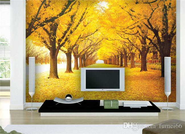 Personalizado 3D Murais de Parede Papel De Parede Paisagem Natural Outono Cenário Amarelo Florestas De Carga Coberta Deixa O Papel De Parede Para Sala de estar