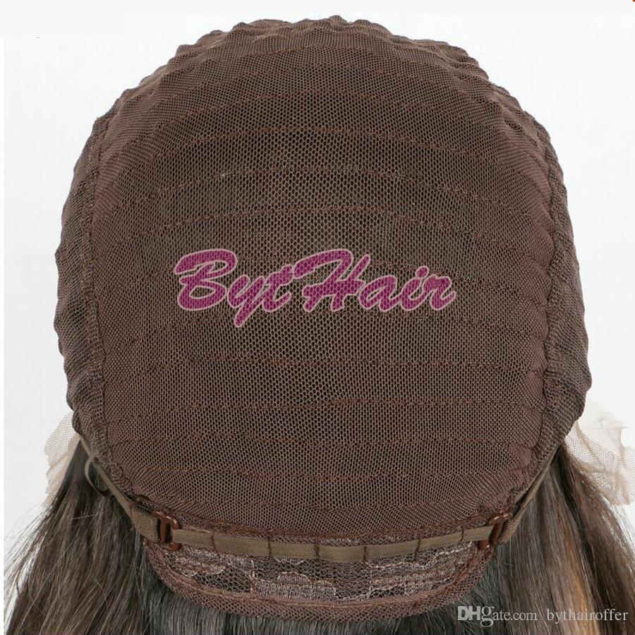Bythair Peach Colour Breve Bob Parrucca sintetica in pizzo frontale Rosa pastello Ombre Marrone Radice Acqua Wave Fibra resistente al calore Parrucca donna Taglio di capelli