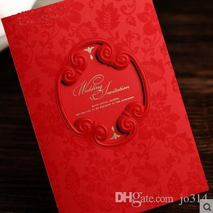 Chinese Wedding Invitations Cards Red Vintage Style Embossed Wedding