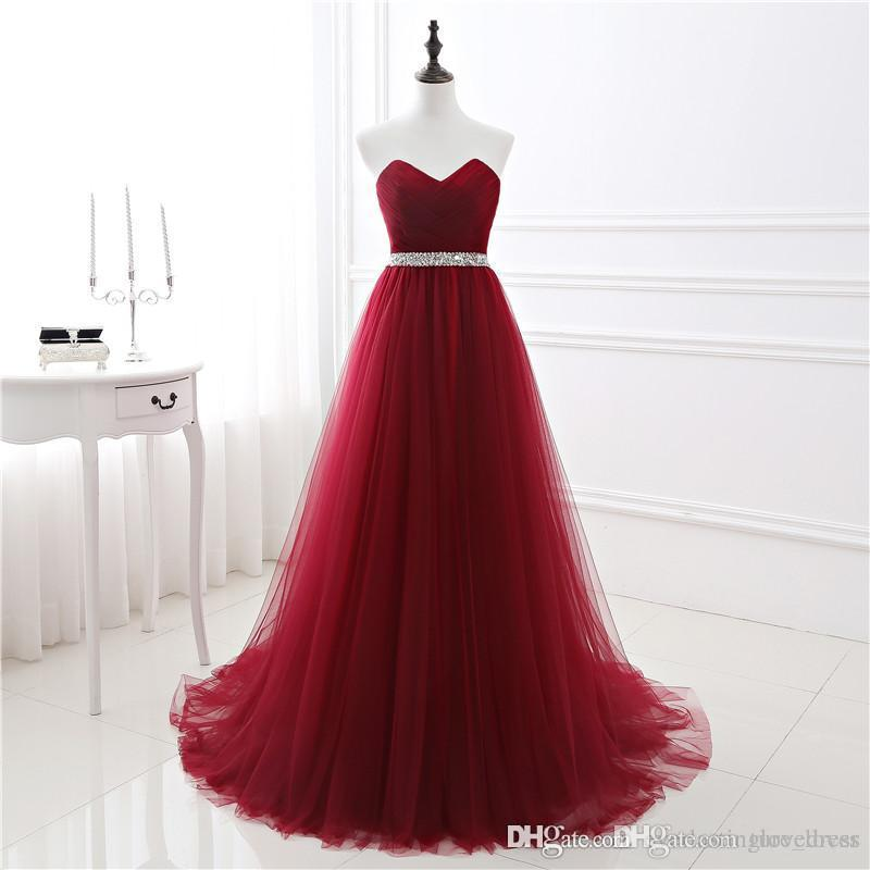 2017 New In Stock A-line Soft Tulle Dark Red Prom Dress Hand Beading Sexy Evening Gowns Bandage Long Party Dress guest dress