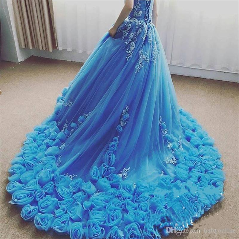 2017 Aqua Cascading Ruffles Long Train Quinceanera Dresses Sexy Sweetheart Ball Gowns with Hand Made Flowers Prom Party Evening Gowns Formal