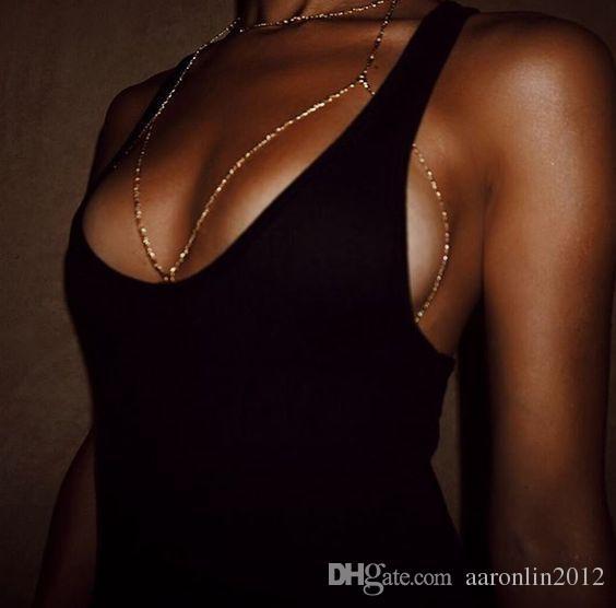 Marca de moda Garra de Cristal Sujetador Esclavo Arnés Cuerpo Cadena Mujeres Rhinestone Gargantilla Collar Colgante Bikini playa Joyería Corporal 2017