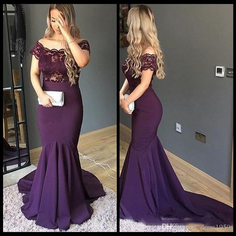 Elegant Purple Mermaid Evening Dress Off the Shoulder Plus Size Arabic Prom Party Dress Top Lace Evening Gowns