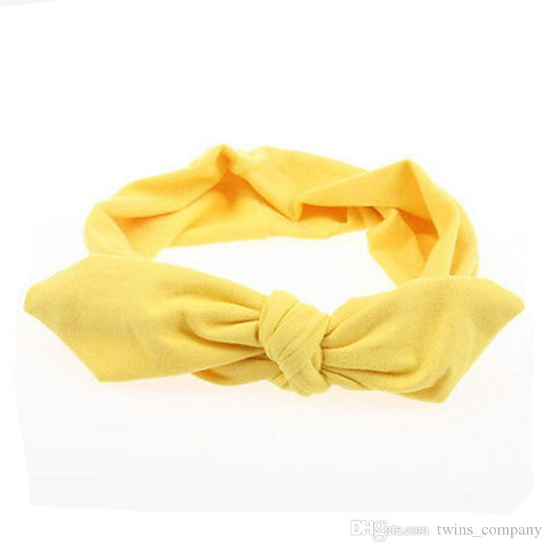 2017 New Girls Women Fashion Elastic Stretch Plain Rabbit Bow Style Hair Band Headband Turban HairBand hair accessories