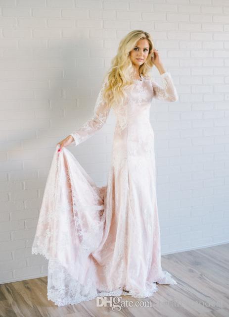 Rosa Meerjungfrau Spitze bescheidenen Brautkleider mit langen Ärmeln Juwel Hals böhmischen Brautkleider nach Maß Landhausstil