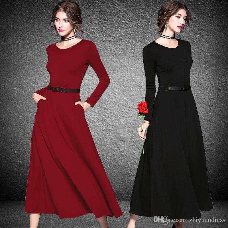 0e8e0b7d6fd Acheter Longues Robes De Soirée Noir Bordeaux 2018 Mode Femmes Vêtements  Décolleté Manches Longues Robes De Soirée Club De Fête De  120.61 Du  Zhiyuandress ...