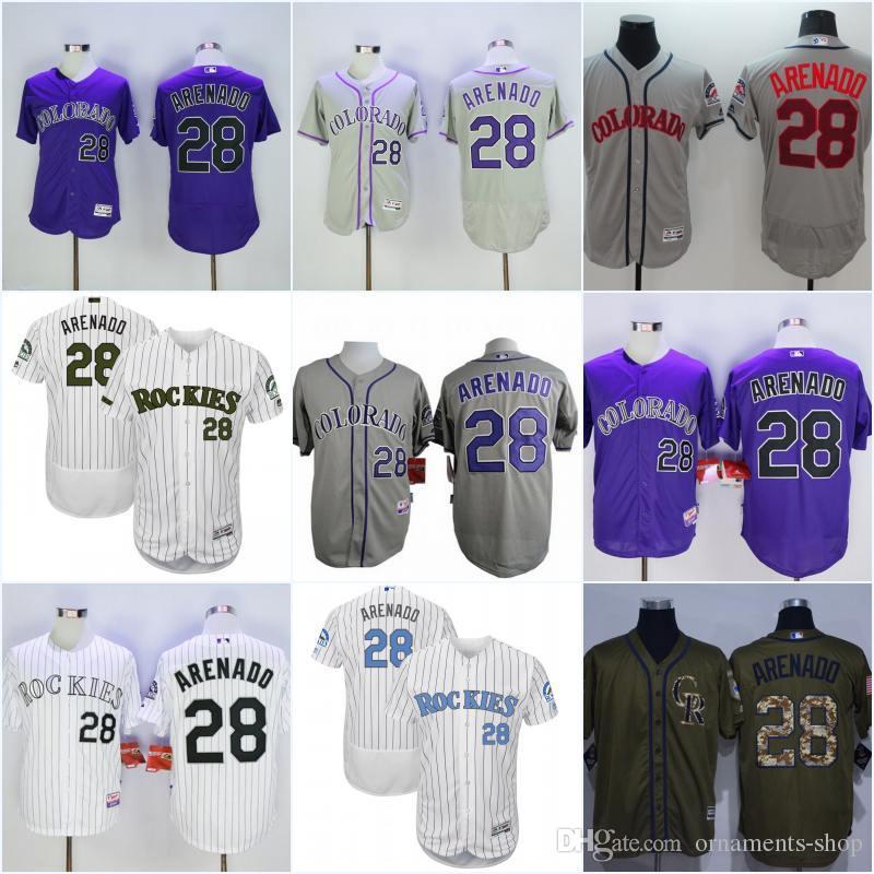 412083303fe ... Jersey - 2017 Mens Womens Kids Colorado Rockies 28 Nolan Arenado Green  Grey Purple White Flexbase Coolbase Baseball ...