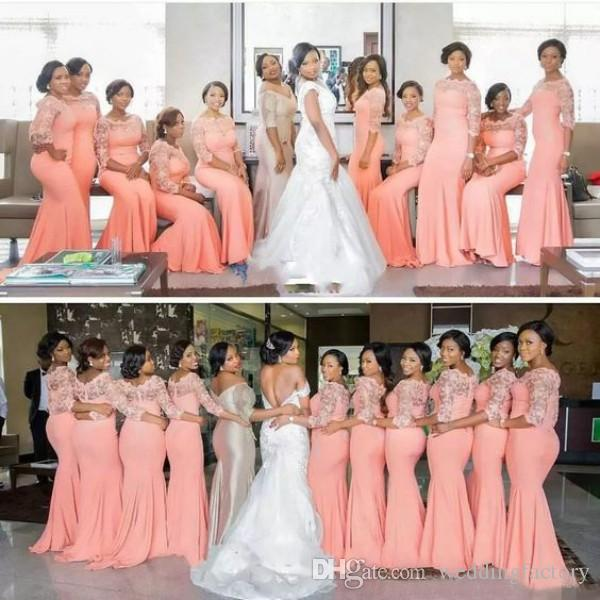 Arabic African Coral Peach Blush Long Bridesmaid Dresses with Half Sleeves Plus Size Lace Mermaid Party Dress Beautiful Bridemaid Dresses