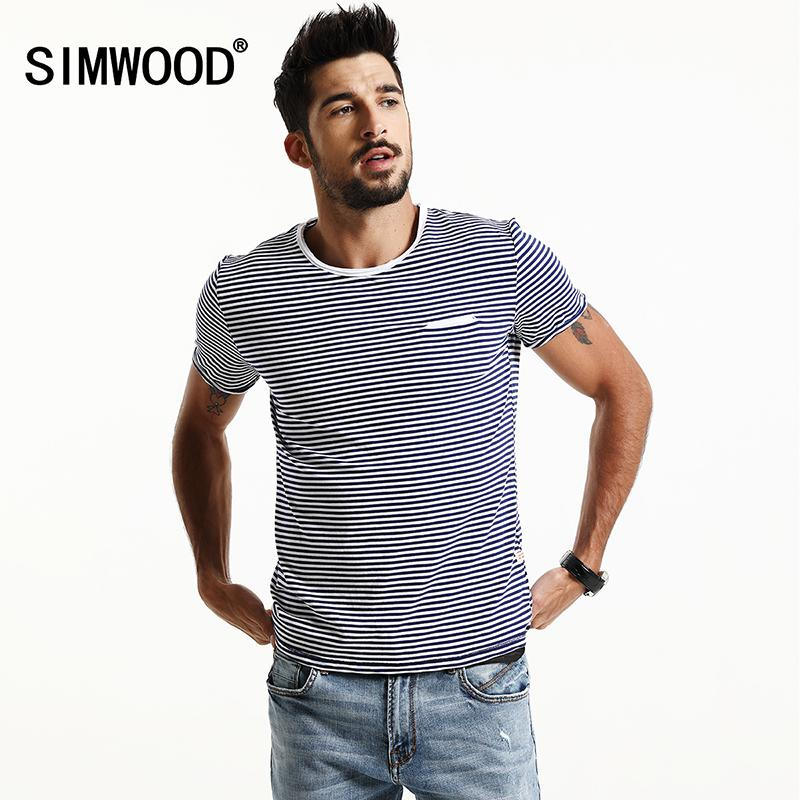 fe00296fe64bf Wholesale SIMWOOD 2017 Spring Summer Short Sleeve T Shirts Men Striped  Fashion Tees Slim Fit Plus Size Breton Top TD1167 Funny T Shirts For Women  Funny ...