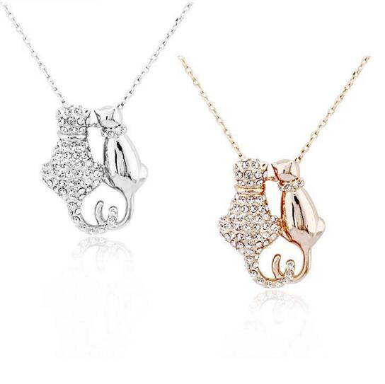 DHL Cute Cat Pendant Necklaces For Women Lady Gift Gold Silver Trendy Diamond Rhinestone Animal Pet Charm Jewelry Gifts Accessories