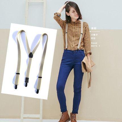 Hot fashion With classic pattern logo Elastic suspender lady strap black white khaki suspender good quality Anita
