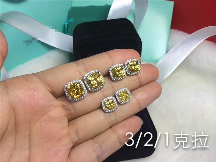Klasik Stil 4 karat / çifti Prenses Kare kesim Altın sentetik elmas küpe kadınlar için düğün nişan Beyaz Altın Kaplama Saplama Küpe