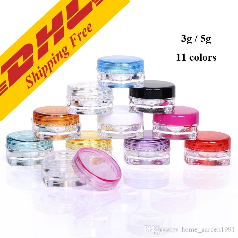 DHL FREE 3g 5g transparent small square bottle Cosmetic Empty Jar Pot Eyeshadow Lip Balm Face Cream Sample Container 11 colors optional