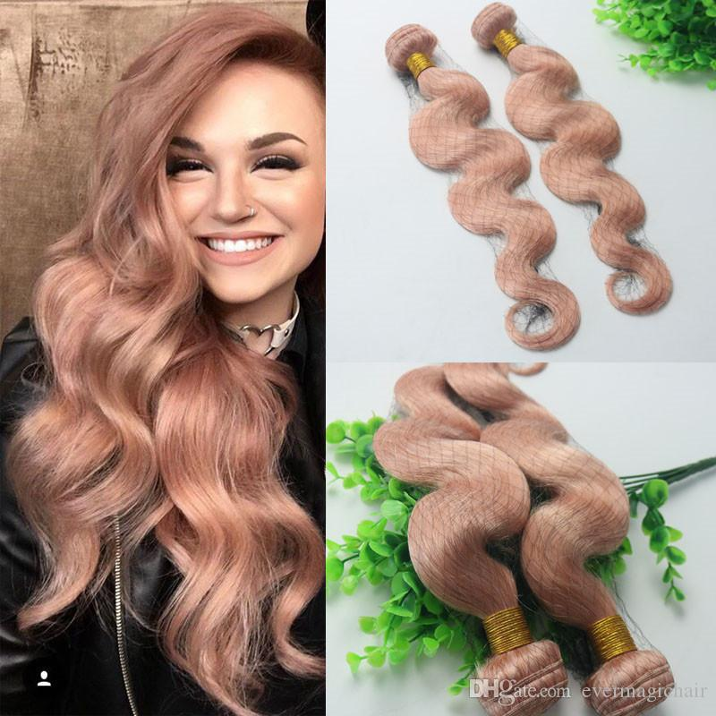 Hot Pink Colorful Human Hair Extensions Rose Gold Brazilian Body