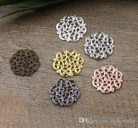 07547 14mm antique bronze/silver/rose gold/gun black filigree flower charms for jewelry making, vintage small necklace pendants for bracelet