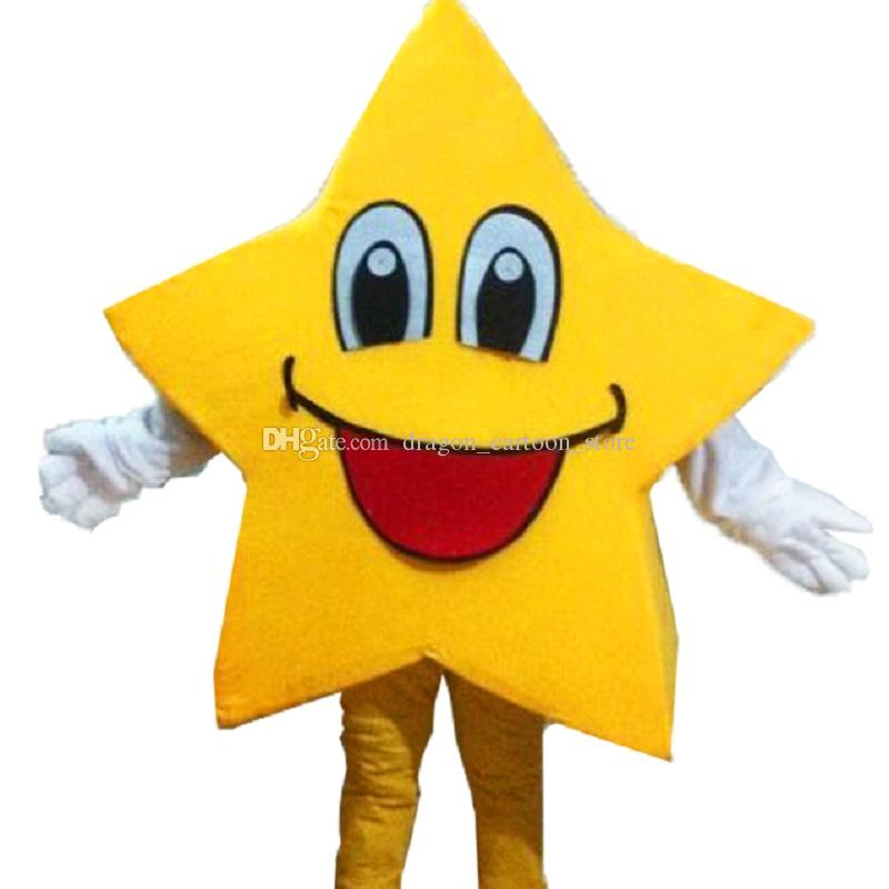 Yellow five-pointed Star Mascot Costumes Cartoon Character Adult Sz 100% Real Picture