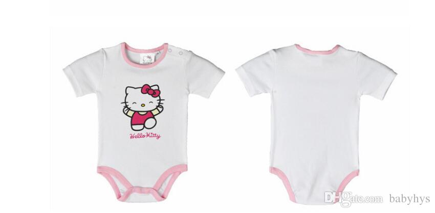 50% off kids rompers newborn Hot design in UA 100% cotton hello cat pink and white rose red color