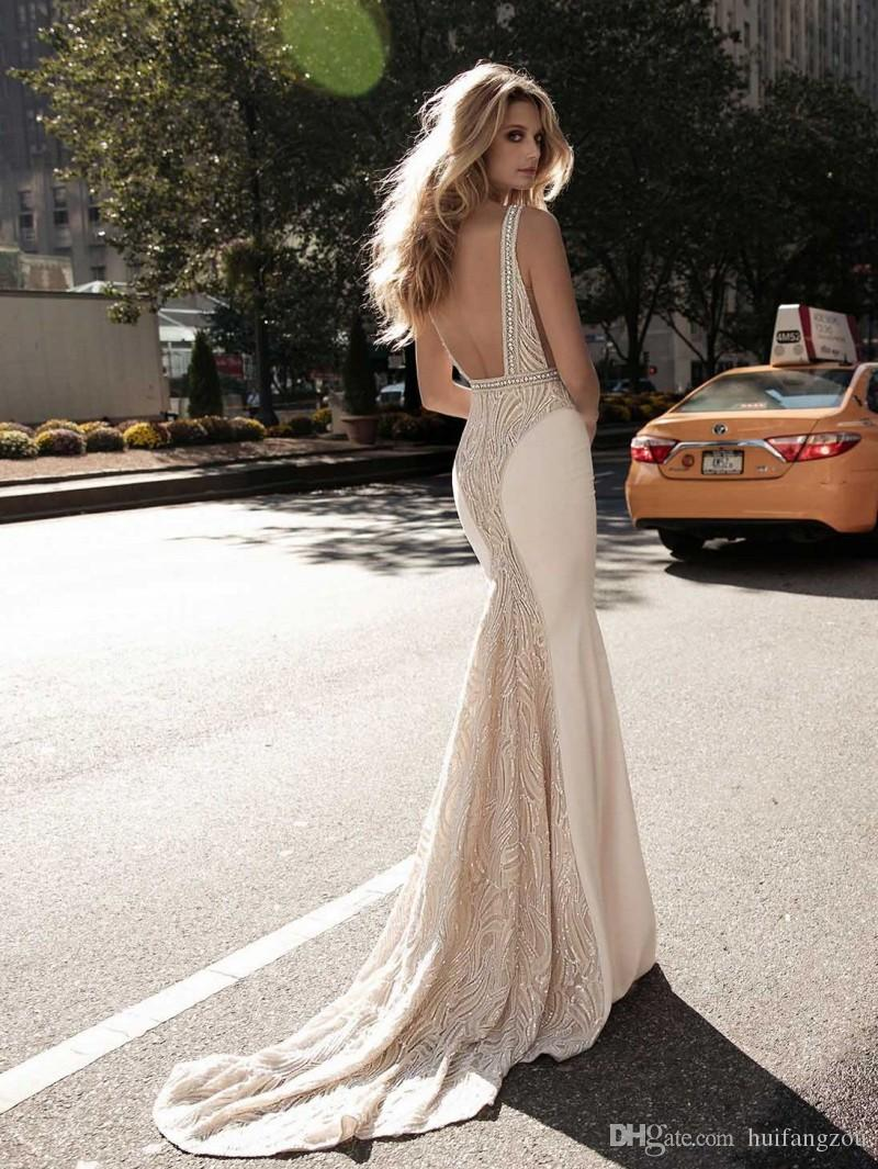 Berta 2017 Vintage Mermaid Wedding Dresses Plunging Neckline Lace Beads Pearls Wedding Gowns Sweep Length Sequins Backless Wedding Dress