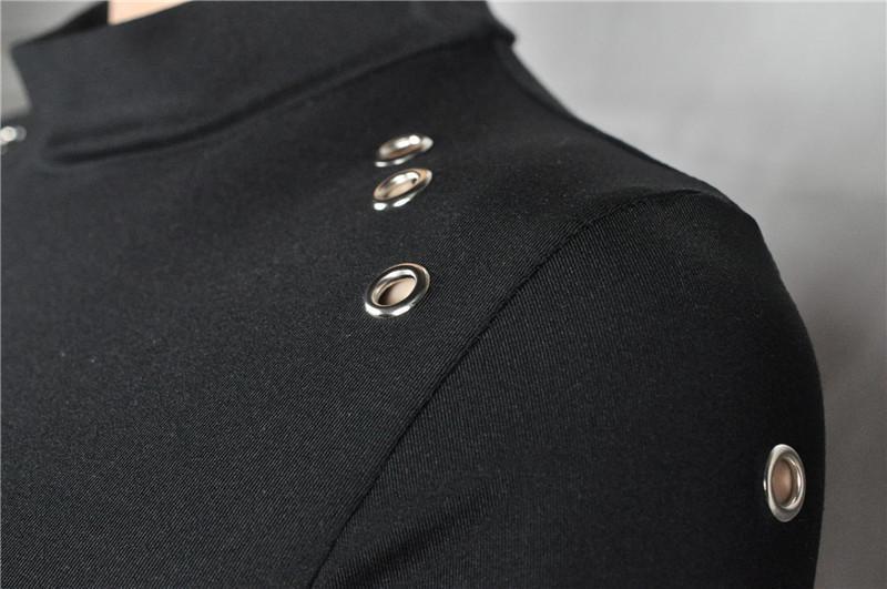 Kadınlar Seksi Siyah Yüksek Boyunlu Uzun Kollu Paket Kalça Ince Elbise Lady Turtleneck Bodycon Seksi Delik Kulübü Mini Elbise vestidos QF-034