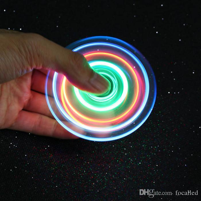 Hot New Light up Hand Spinners LED Bright Fidget Spinner Triangle Finger Spinner Transparent Crystal Colorful Decompression Toys in stock