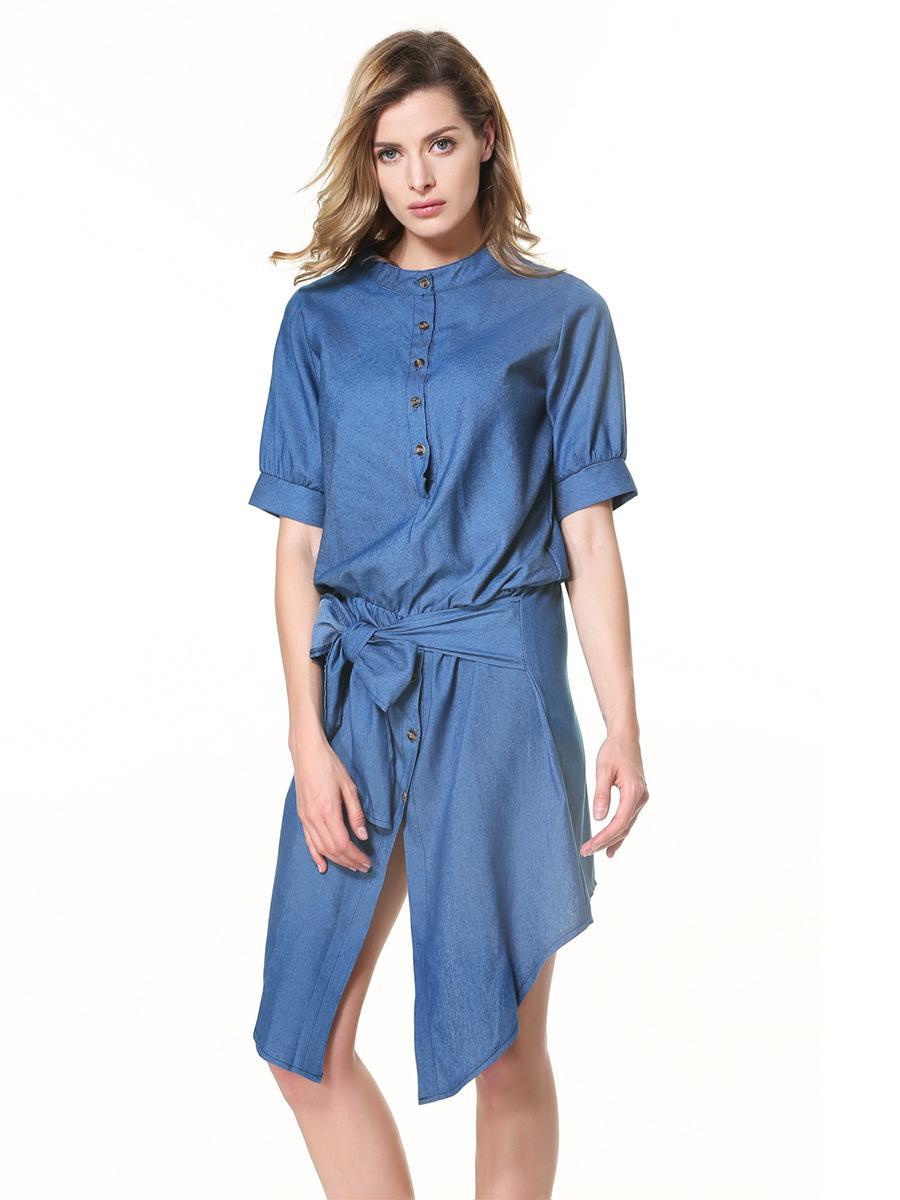 Women Retro Denim Dress Front Belt Casual Vintage Dress Women Blue ...