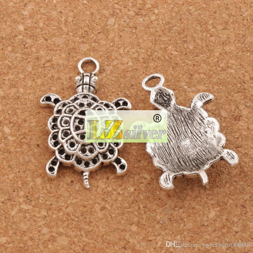 Tier 3D Meeresschildkröte Schildkröte Legierung Bezaubert 100 teile / los Tibetan Silber Anhänger 34mm L1181 Schmuck DIY
