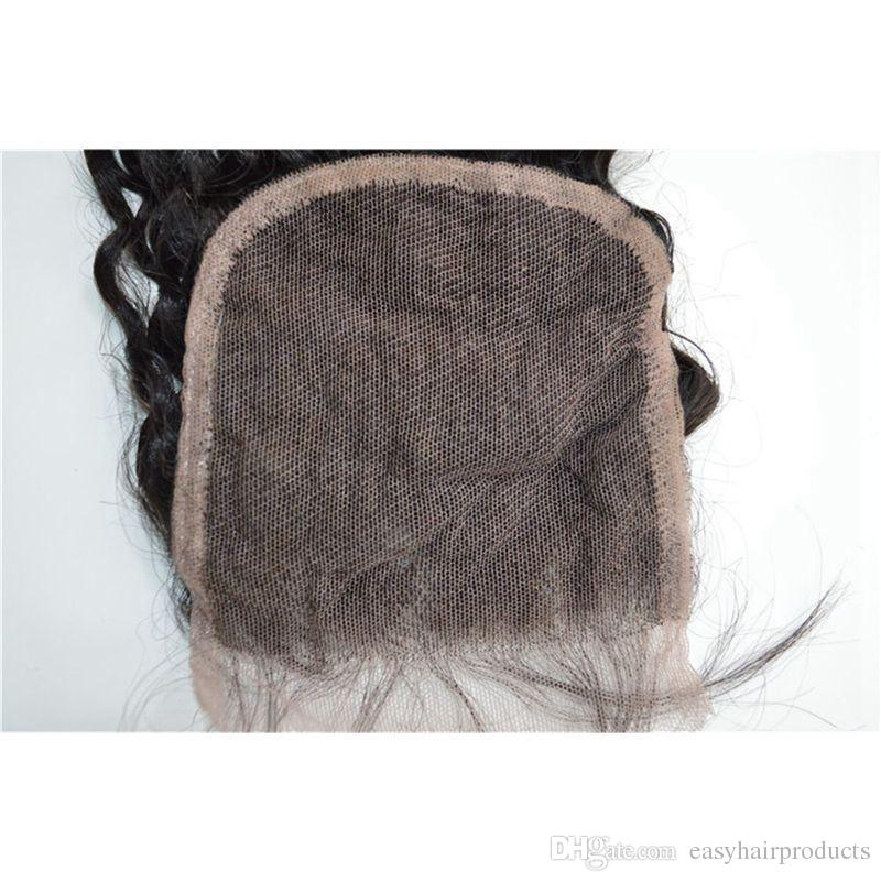 Virgin Peruvian Human Hair Weave Bundles And Closure Natural Black Unprocessed Peruvian Deep Wave Lace Closure With Baby Hair