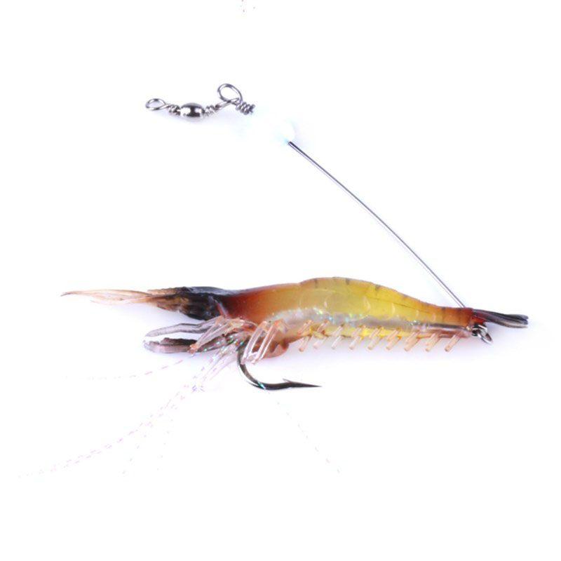 Luminous Shrimp Soft Lure 9cm 6g Fishing Artificial Bait with Glow Hook Swivels Anzois Para Pesca Sabiki Rigs Prawn Fishing Lure