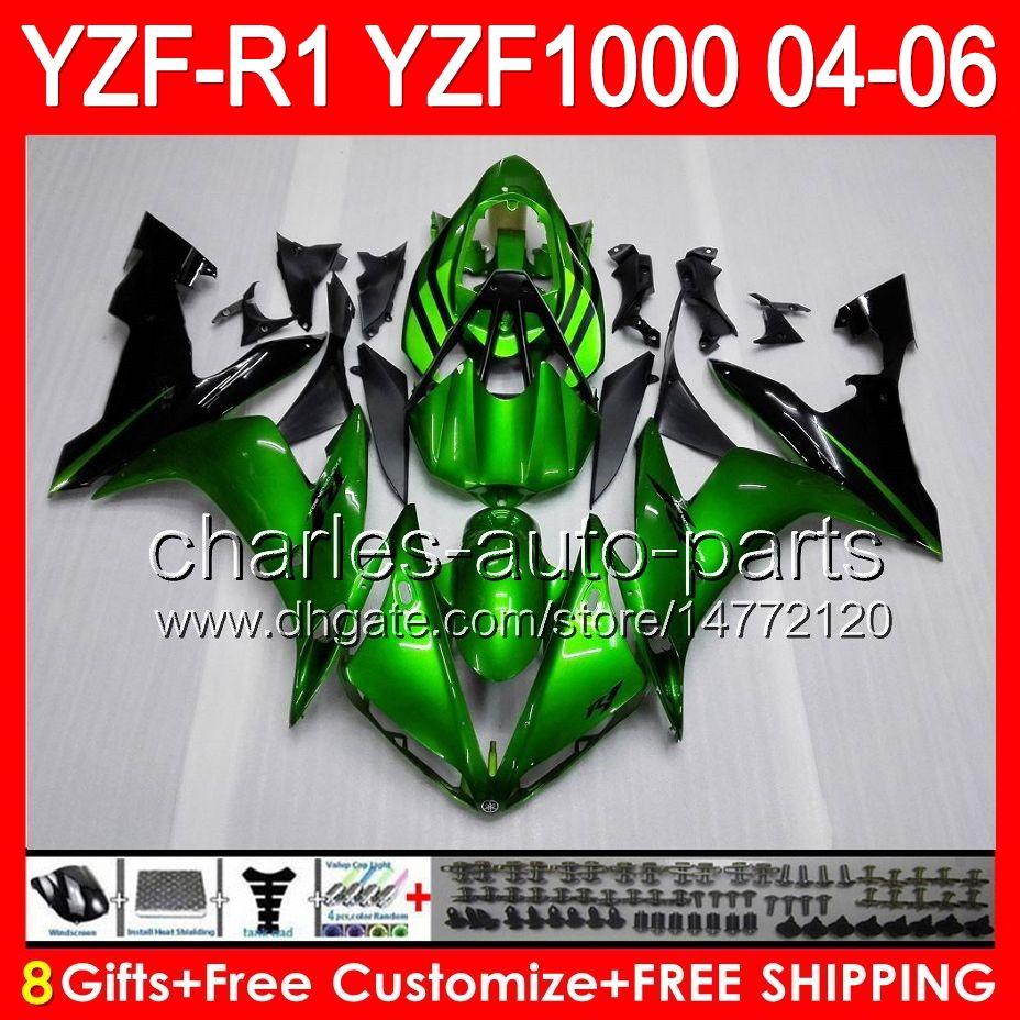 gloss green 8gifts Corpo Para YAMAHA YZF R1 04 05 06 YZF-R1 04-06 93NO3 YZF 1000 YZF R 1 YZF1000 YZFR1 2004 2005 2006 SUPERIOR verde preto Carenagem