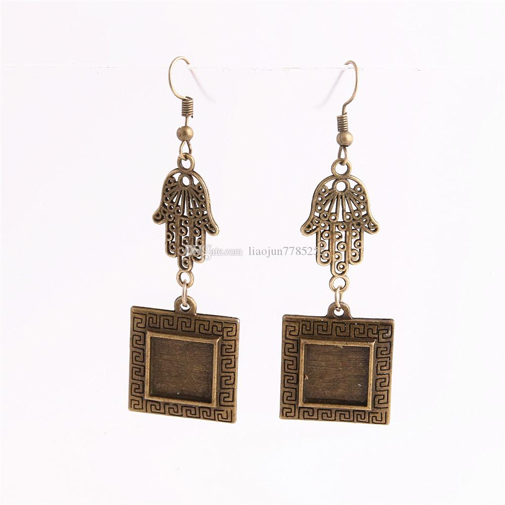 SWEET BELL Metal Alloy Zinc Hamsa Hand Charm Fit Square 12.5mm Cabochon Set Pendant Drop Earing Jewelry Making C0813