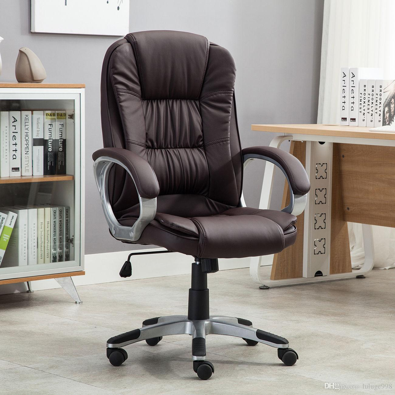 High Brown PU Leather Executive Office Desk Task Computer Boss Luxury Chair NEW Chairs Online with $65.58/Piece on Luluge998u0027s Store | DHgate.com & High Brown PU Leather Executive Office Desk Task Computer Boss ...
