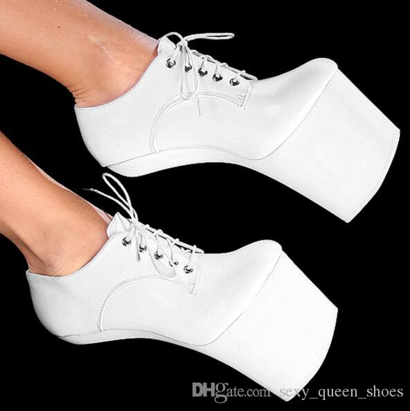 a3f172e7944c 2018 BDSM Plus Size Hoof Heelless High Heels Sexy Shoes Lace Up More ...