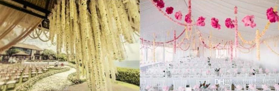 Hängande krans fyra-bladklöver banner papper blommor tofs vävnad bröllopsfest dekor juldekoration återanvändbar 3,6m gåva