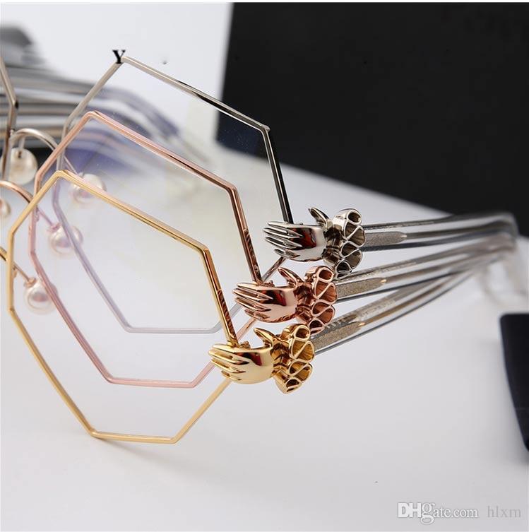 2017 ماركة بيرسي لاو مصمم نمط النظارات إطار النظارات إطارات لؤلؤة المثمن العدسات عادي نظارات مع مربع للنساء