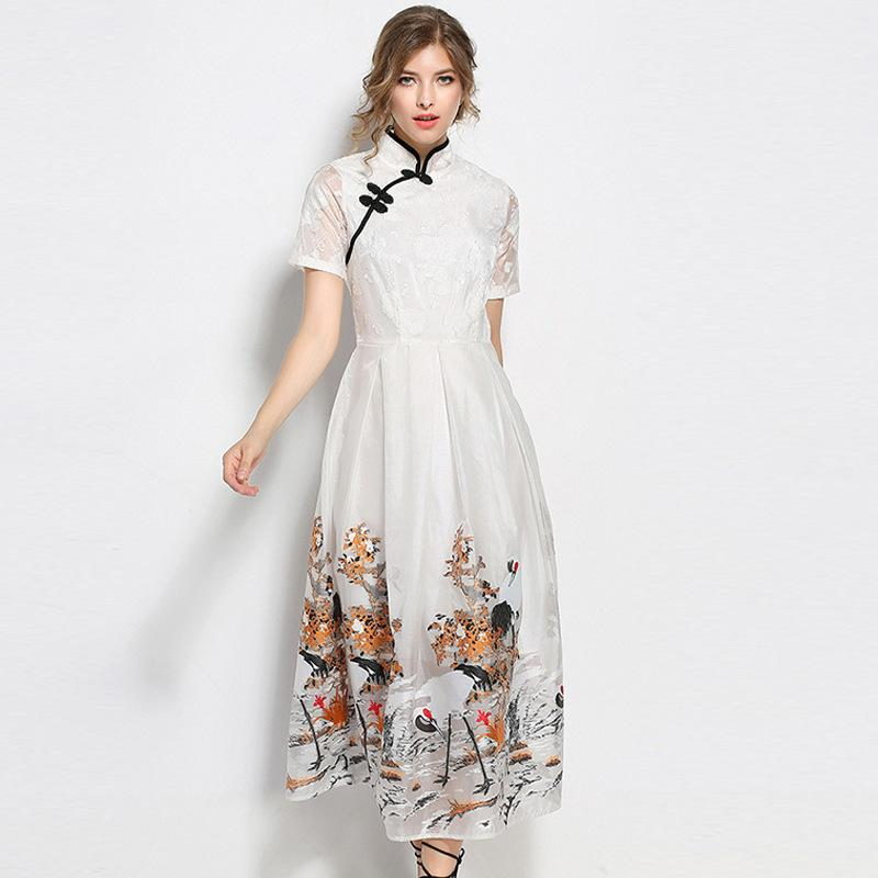 90b7cb6540f1 Cheongsam Vintage Stand Collar Dress Women Summer Large Swing Dresses  Fashion Animal Cranes Printing Embroidery Slim Elegant Dress Plus Size Grey  Party ...