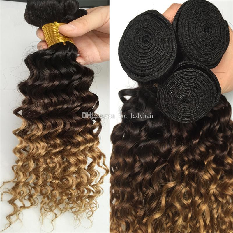 Three Tone Ombre Peruvian Deep Wave Virgin Human Hair 3 Bundles #1B/4/27 Honey Blonde Ombre Deep Curly Hair Weaves