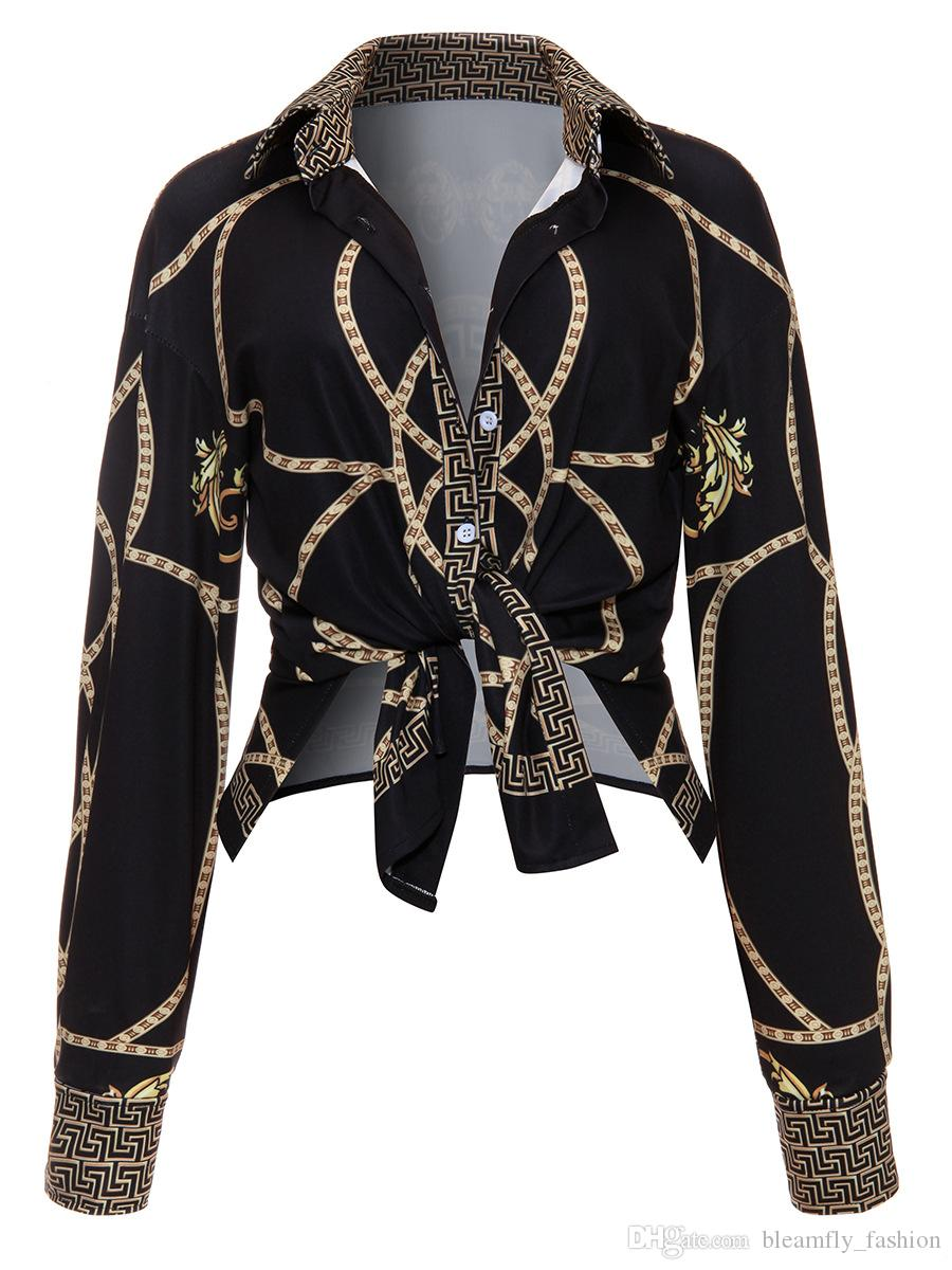 2017 Autunno Catenina d'oro Stampa Camicette manica lunga le donne girano giù del tasto di collare fino camicia femminile sexy signore casuali parti superiori