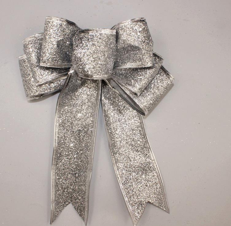 Large Glitter Bow Christmas Tree Decoration Present Gift Box DIY Decor New Year Wedding XMAS Ornaments Wreath Garland Bows