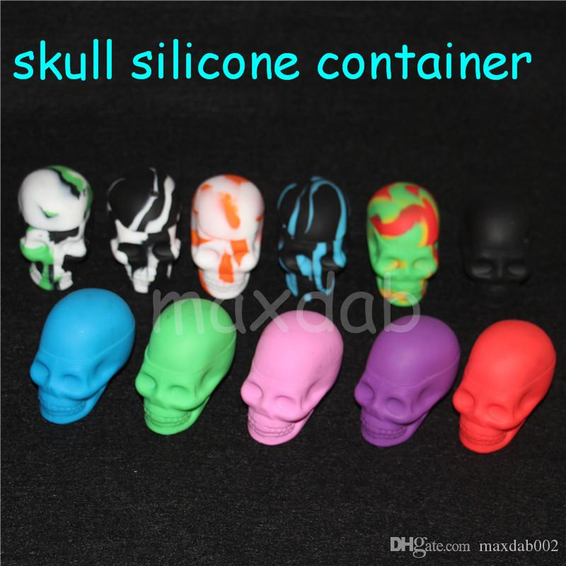 wholesale Silicone Skull Jar oil or wax Container 15ml Non-stick Silicone Dab Container free dhl